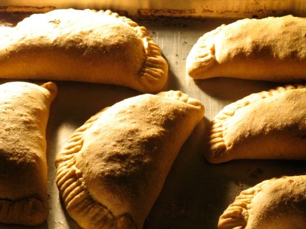 vegan calzones baking